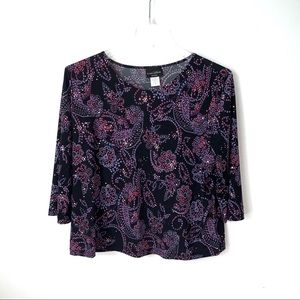 Brittany Black sparkle tunic women's 1X purple